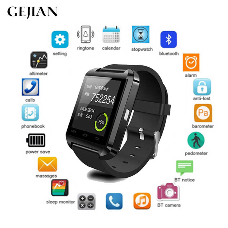 GEJIAN Bluetooth Smart Watch Message Notification Waterproof Smart Bracelet Android Smartphone IOS Watch Pedometer Remote Camera