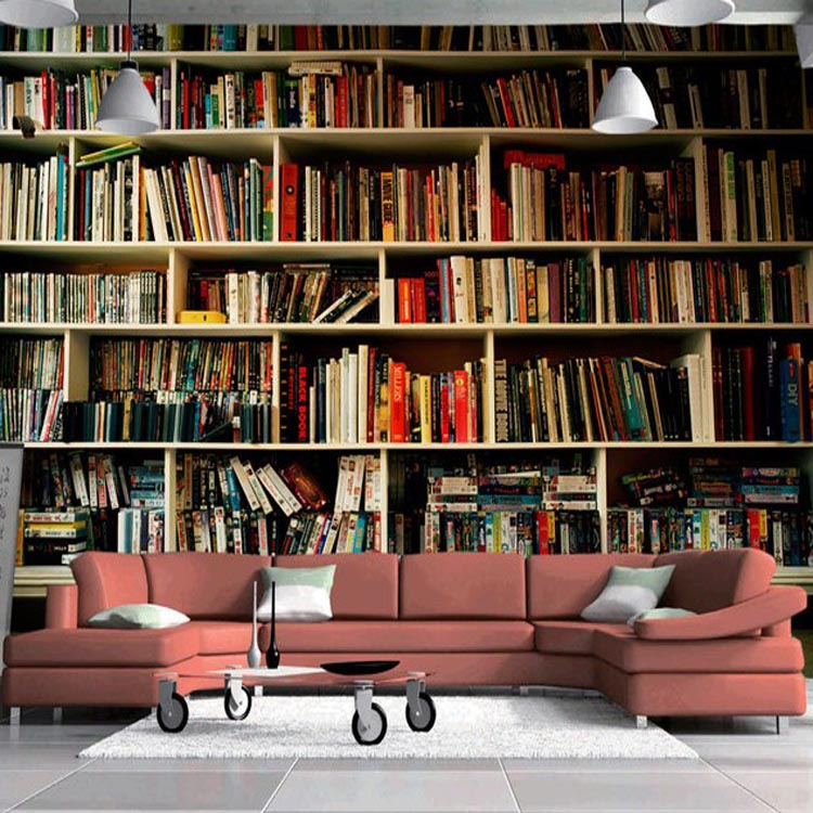 Customized Wallpaper Wall Murals Bookcase Bookshelf Setting Books Paper Home Decoration In Wallpapers From Improvement