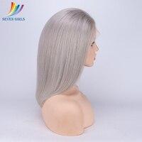 Sevengirls серый перуанской Full Lace натуральные волосы парик Натуральные Прямые волосы бесклеевого натуральные волосы парик с волосами младенца