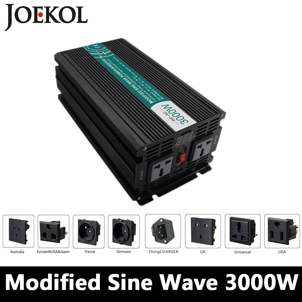 3000W Modified Sine Wave Inverter,DC 12V/24V/48V To AC110V/220V,off Grid Solar voltage converter With Panel Charger And UPS