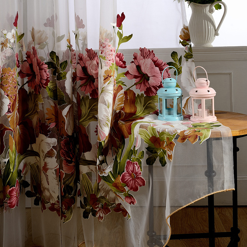 American Style Pastoral Cotton Linen Burnout Blackout Curtains Window Treatment Printed Tulle Curtain For Living Room Bedroom in Curtains from Home Garden
