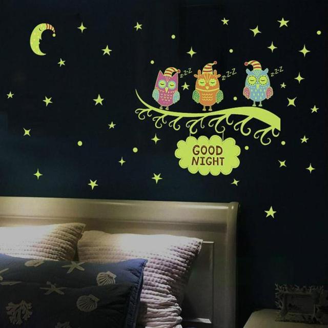 luminous owl moon wall sticker fluorescent kids room bedroom vinyl