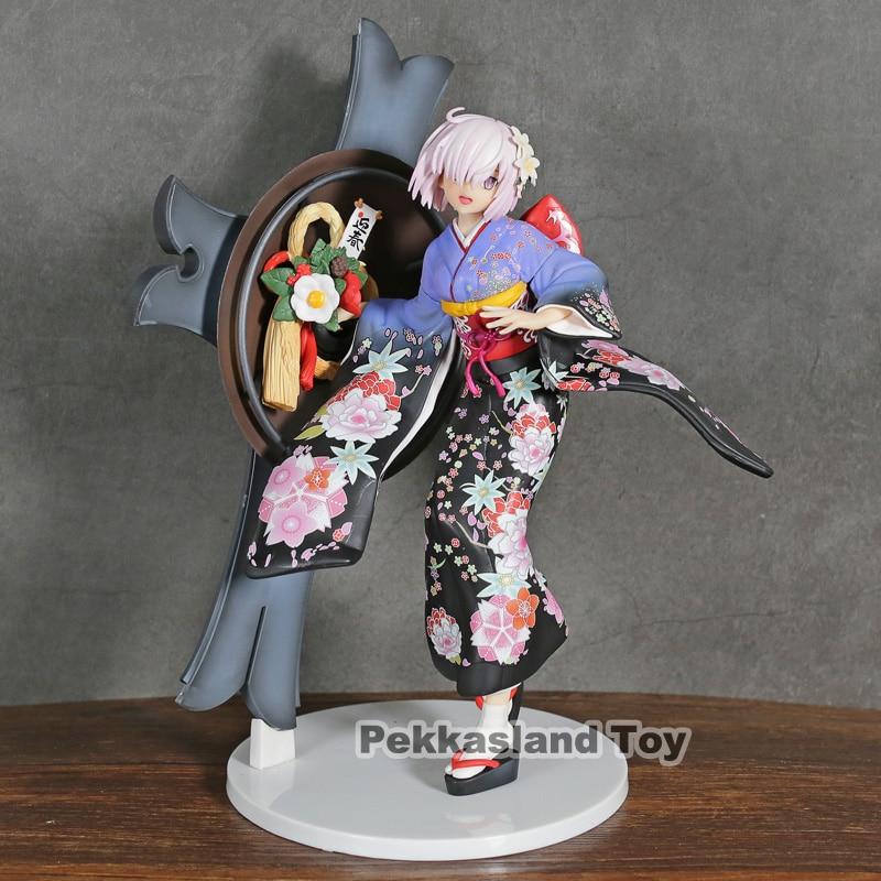 Saber Fate Grand Order FGO Kimono Shielder Mother Mash Kyrielight 25CM PVC Action Figure Toy Christmas Gift For Children Kids