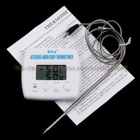 Multi Functional Digital LCD Display Probe Meat Food Thermometer Timer Cooking Kitchen BBQ Thermometer Free Shipping
