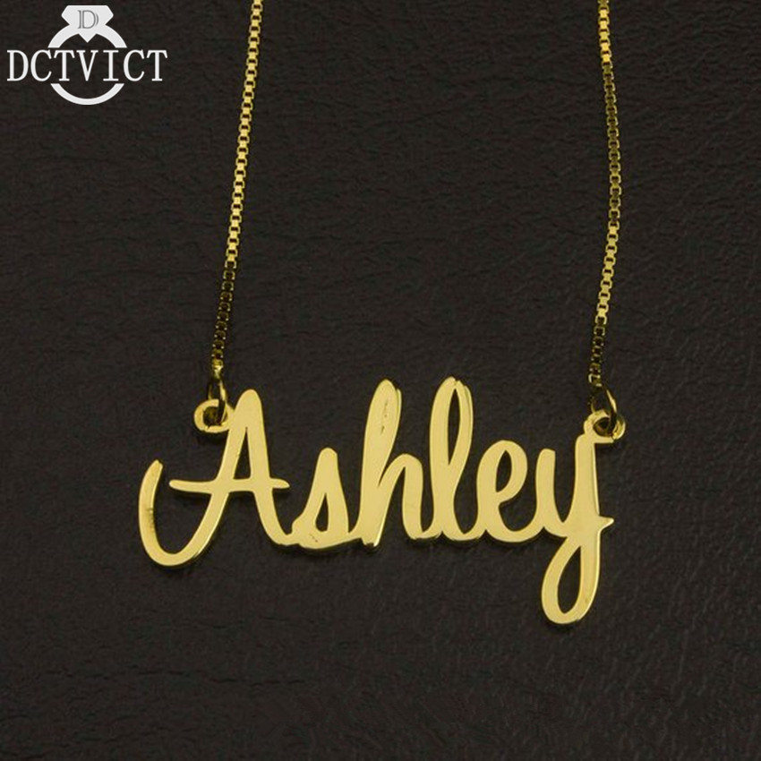 Nameplate Pendant Necklace Personalized Name Necklace Women Customized Jewelry Stainless Steel Box Chain Choker Christmas Gift
