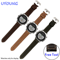Quality genuine leather watchband 22mm brown khaki bracelet replacement leather strap for Garmin Fenix Chronos