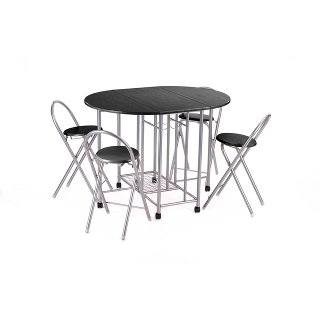 Aingoo 5Pcs Butterfly Set Steel Sliver Tube Dining Room Set Furniture Unique Folding Design Brand High Quality Dining Table Set