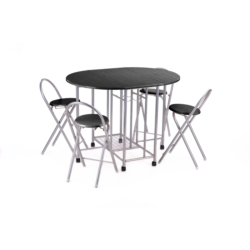 Aingoo 5Pcs Butterfly Set Steel Sliver Tube Dining Room Furniture Unique Folding Design Brand High Quality Table