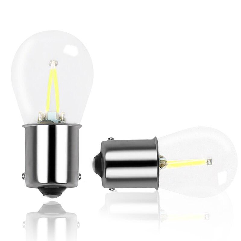 2x New 1156 BA15S P21W LED COB Red Turn Signal Light Reverse Backup Lamp Bulb