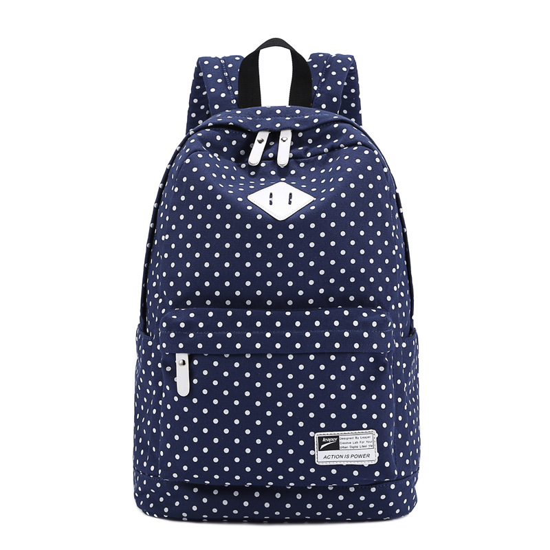 2017 Brand Korean Canvas Dotted Printing Backpack Women Backpacks for Teenage Girls Vintage Stylish Ladies Bag Backpack Female