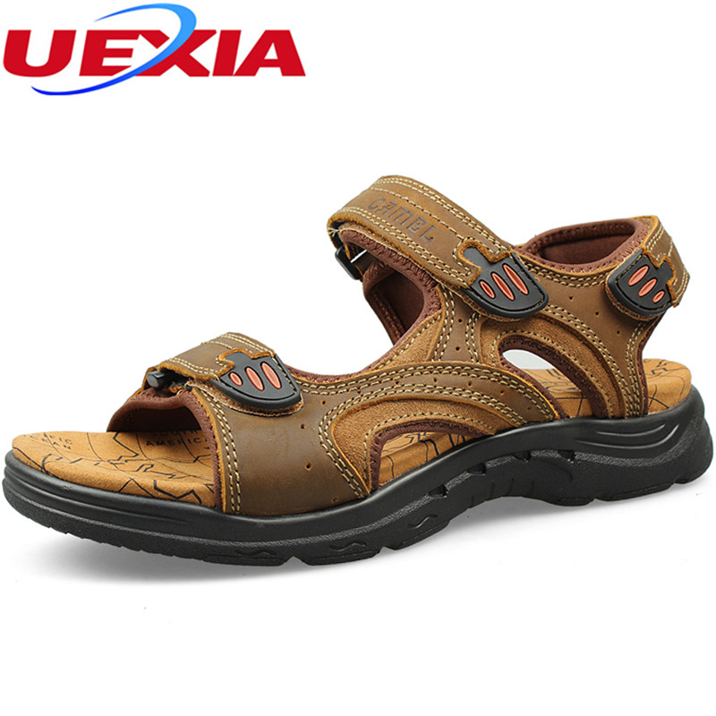 UEXIA Men Sandals Leather Summer Hollow Breathable Non-slip Casual Outdoors Beach Shoes Fashion Shoes Men Slippers Breathable