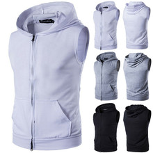 Fashion Mens Slim Fit Muscle Tops Hoodie Casual Basic Zipper Sleeveless Hooded Cotton Vest