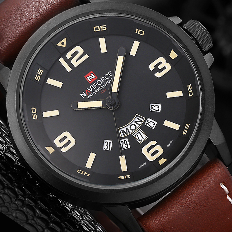 2018 NAVIFORCE Brand Leather Strap Fashion Men Sports Watches Men's Quartz Hour Date Clock Man Military Army Waterproof watch high quality luxury brand men sports waterproof watches quartz hour clock men leather strap montre homme with auto date