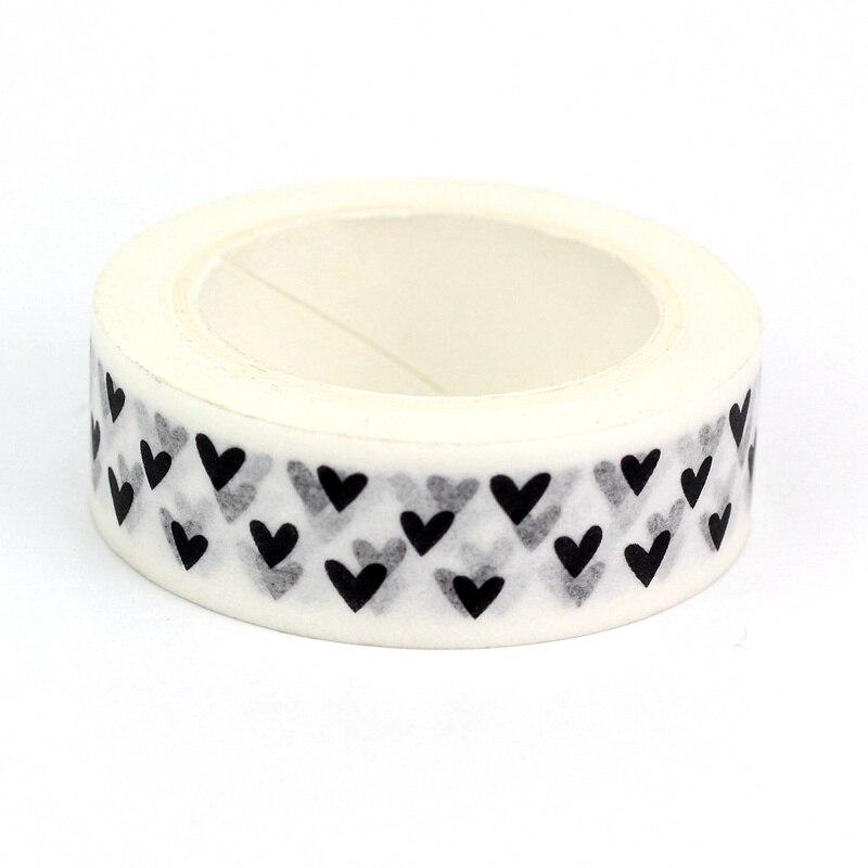 1pc Heart Foil Washi Tape Japanese Paper 1.5cm*10m Kawaii Scrapbooking Tools Masking Tape Xmas Photo Album Diy Decorative Tapes