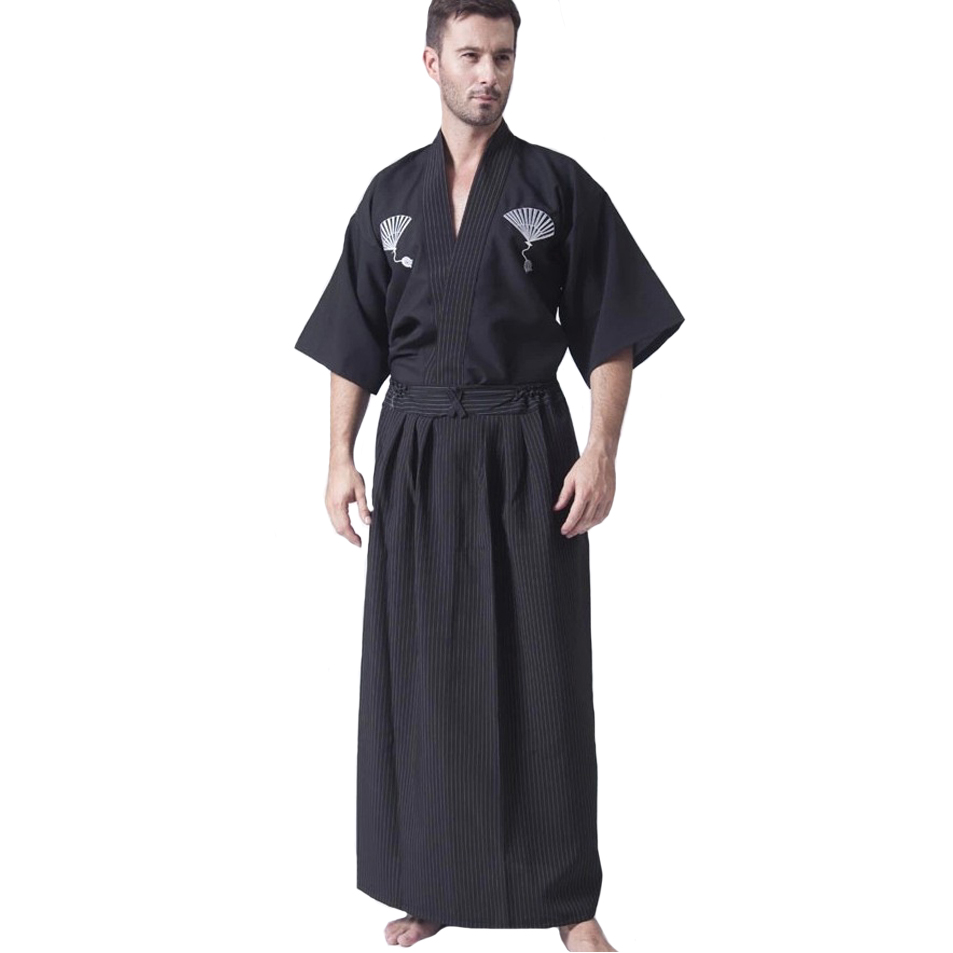 Black Traditional Kimono Haori Men Yukata Bathrobe Japanese Samurai Clothing Male Anime Cosplay Robe Gown Halloween Costume