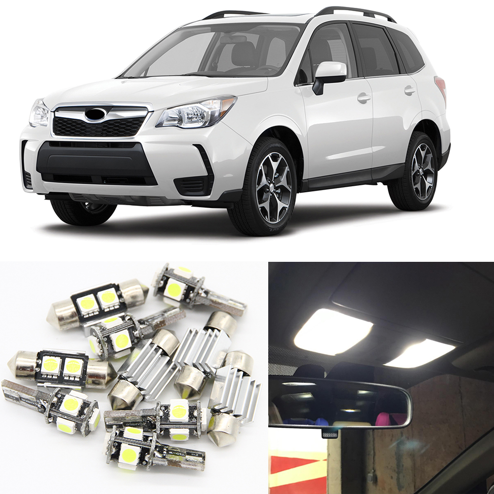 10pcs Auto Interior Led Blub Lamp kits For 2009-2014 Subaru Forester Led Map Dome Trunk License Plate Lamp 12V Car Light Styling car rear trunk security shield cargo cover for subaru forester 2009 2010 2011 2012 high qualit black beige auto accessories