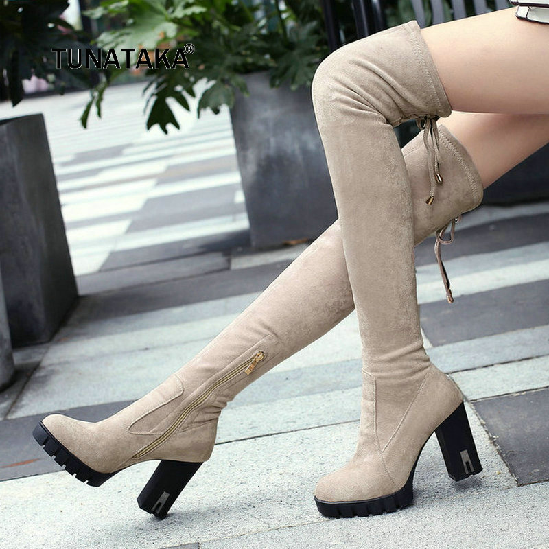 Women Suede Platform Thick High Heel Over the Knee Boots Fashion Zipper Round Toe Comfort Warm Winter Thigh Boots Gray Black lxunyi 2018 new high quality black warm snow boots women round toe platform thigh high boots fashion zipper over the knee boots