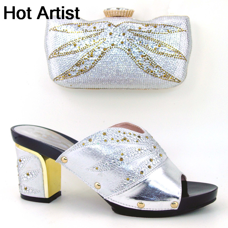 Hot Artist African Woman High Heels Shoes And Matching Bag Set For Party Hot Sale Italian Woman Shoes And Bag Set TH16-65