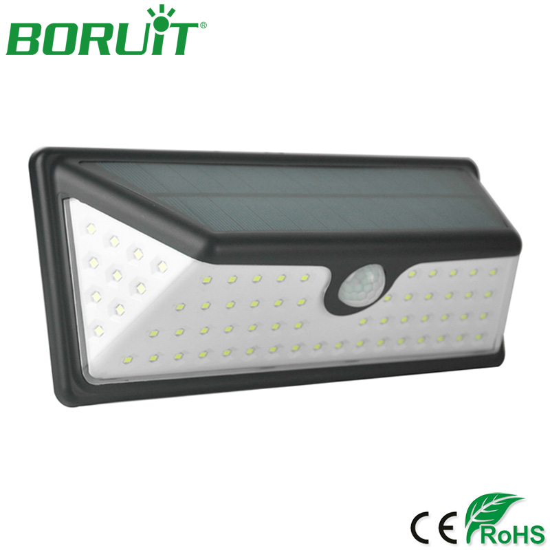 BORUiT 73 LED Waterproof Solar Lamp Motion Sensor Wall Light Outdoor Solar Light for Garden Yard Decoration Solar Street Lights цена