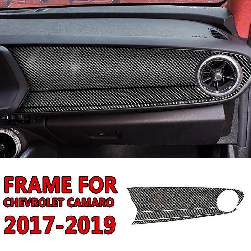 Pcmos Real Carbon Fiber Inner Car Dashboard Frame Cover Automotive Interior Sticker For Chevrolet Camaro 2017-2019 Accessories