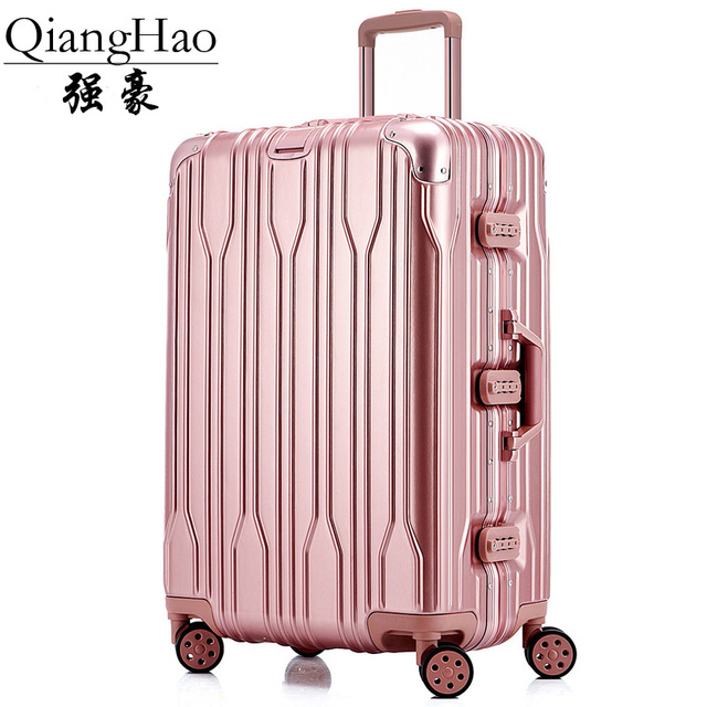 2016 new aluminum frame ABS+PC 20/22/26 inch customs combination lock Travel trolley case rolling suitcase business Boarding box