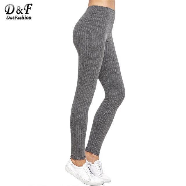 Dotfashion Womens Bottoms 2016 Women Elastic Pants Women Long Pants Warm Grey High Waist Vertical Striped Leggings