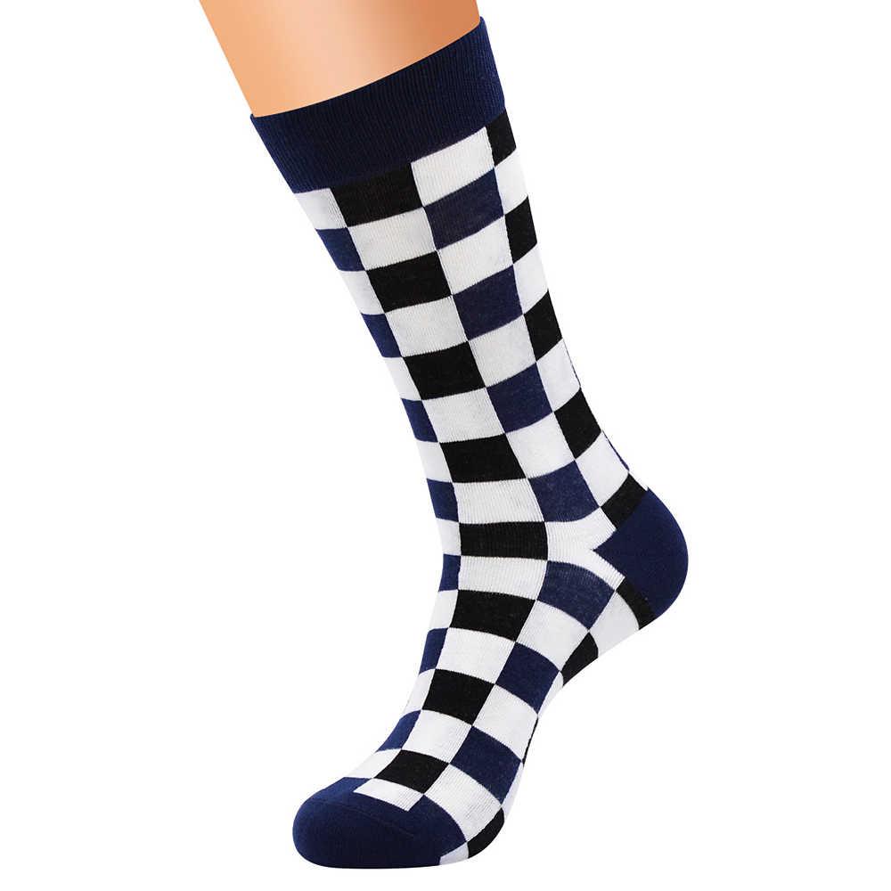 Высококачественные повседневные клетчатые чесаные хлопковые носки мужские Веселые носки Модные уличные ветровые клетчатые цветные носки Meias