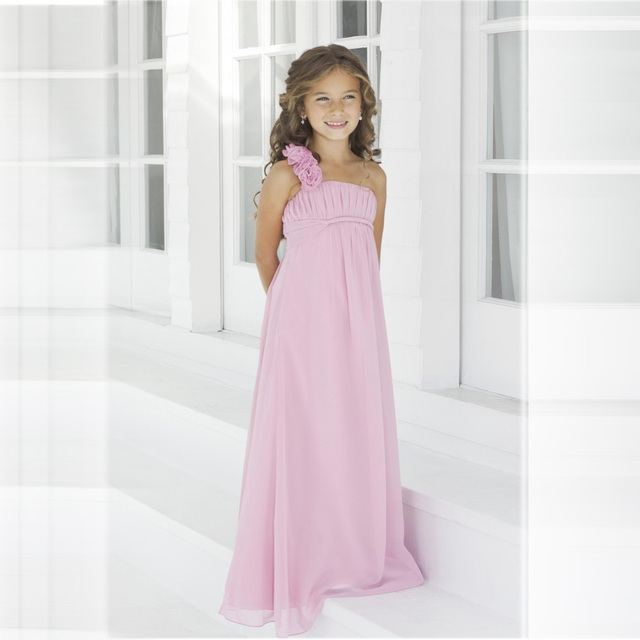 Aliexpress.com : Buy Pink One Shoulder Pleated Long Junior ...