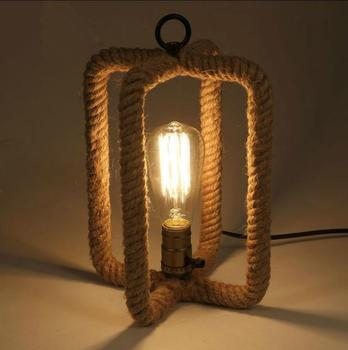 Przemysłowe Styl Liny Lampy Stołowe Kreatywny Sypialnia Lampki Nocne Lampy Sklep Odzieżowy Bar Cafe Oświetlenie Pojedyncze Głowy Lampy Stołowe Za