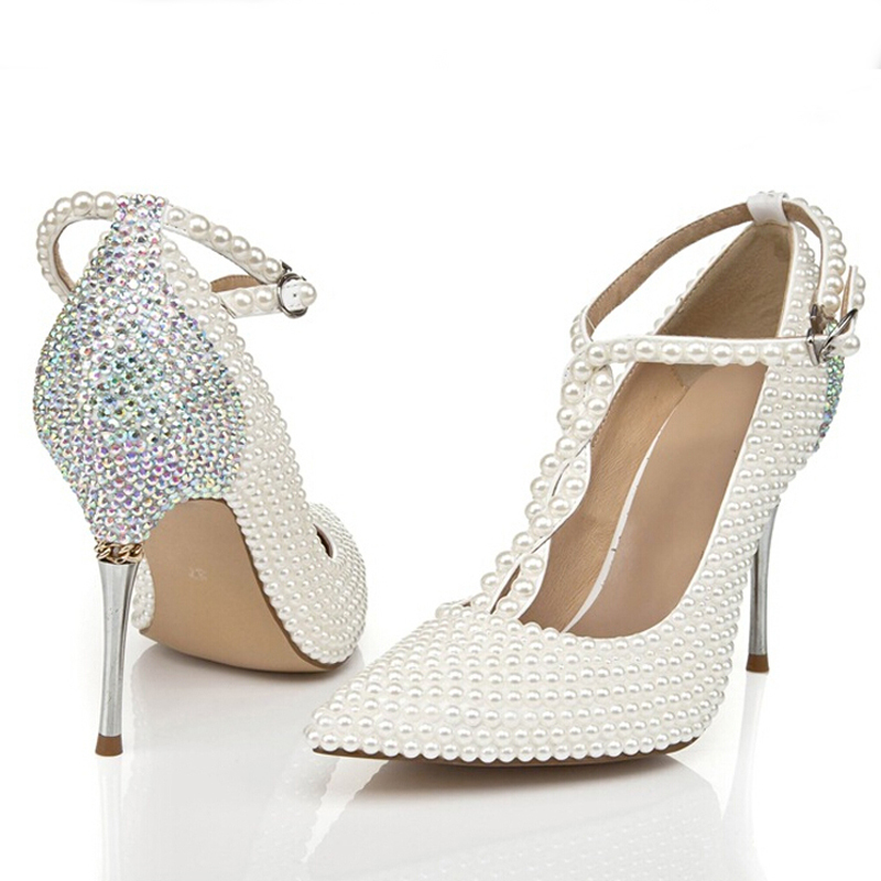 T Strap Ivory Wedding Shoes With Rhinestone Pointed Toe Stiletto Heels Nightclub Club Party Prom Pumps In Womens From On