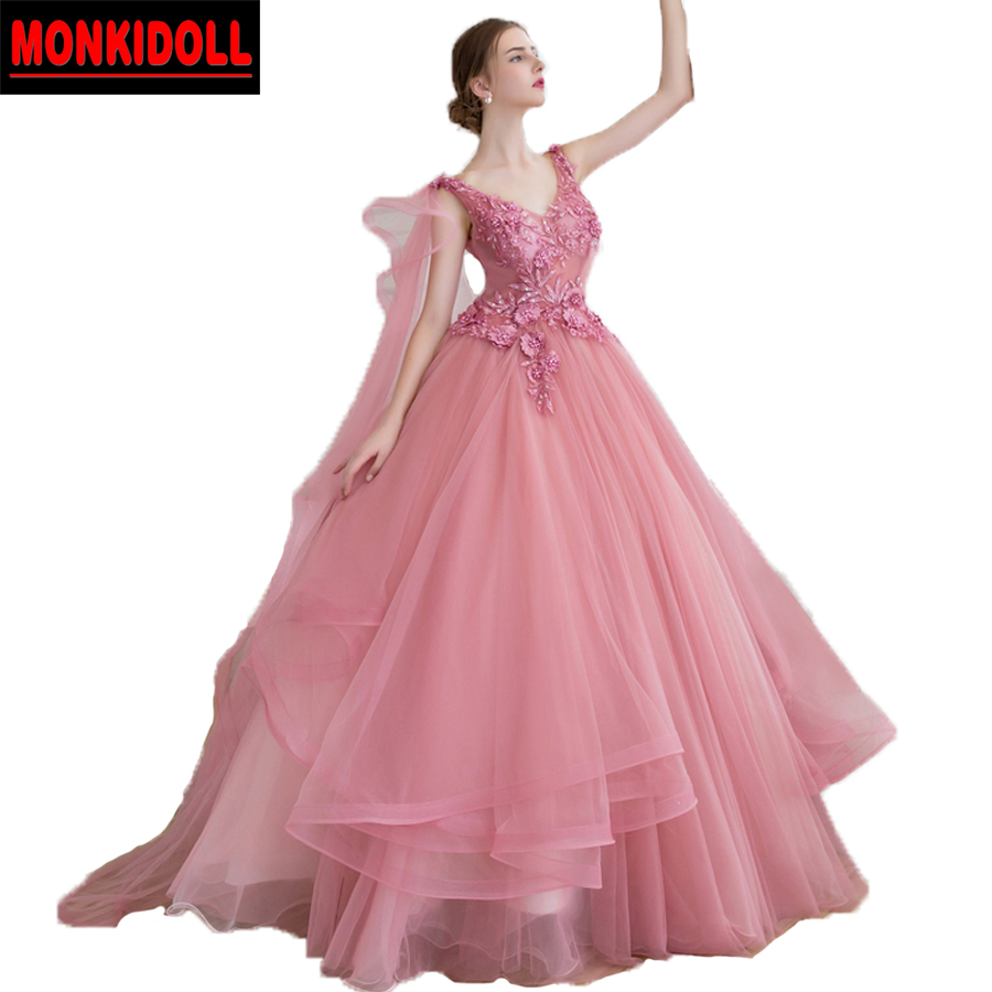 a414c51416c33 Gorgeous Real Dusty Pink Prom Dresses Ball Gowns Open Back Applique Beaded  Lace Tulle Illusion Party Dress Debutante Gown 2019