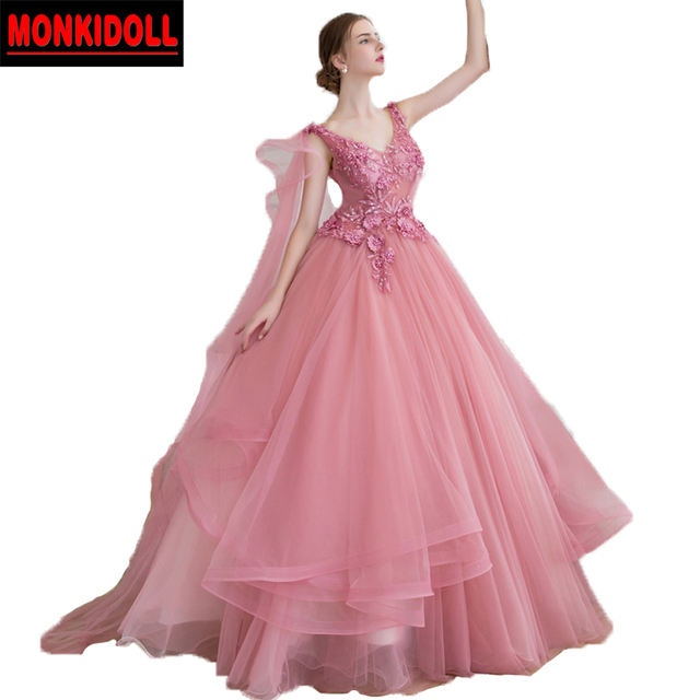 Gorgeous Real Dusty Pink Prom Dresses Ball Gowns Open Back Applique ...