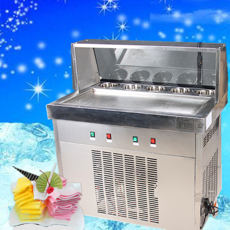 free ship fried ice cream machine,commerial fried ice machine,double compressor ice pan ice cream machine,one pan with 5 buckets ce fried ice cream roll machine fried ice pan machine one pan with 6 buckets fry ice machine r22 r404a r401a accept cunstomize