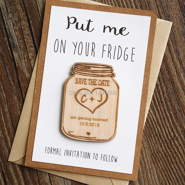 mason jar wood save the date magnets wedding favor gift tag laser