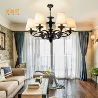 Led Lights For Home Lustre White Fabric Lampshade Chandelier Iron Modern Chandeliers American Style Indoor Lighting