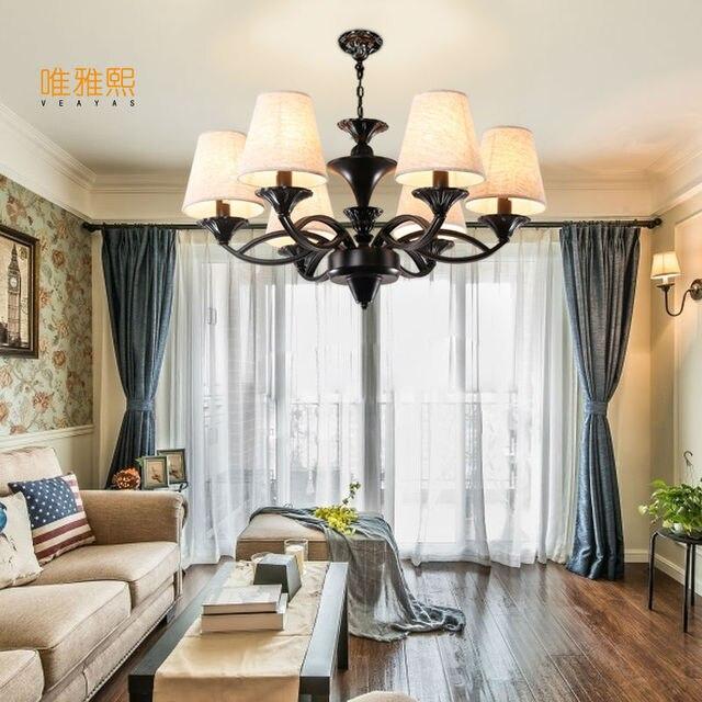 Led Leuchten Für Haus Glanz Weiß Stoff Lampenschirm Kronleuchter Eisen  Moderne Kronleuchter Amerikanischen Stil Innen