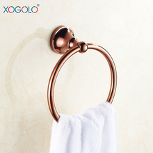 Xogolo Towel Ring Copper Rose Gold Bathroom Towel Hanging Circle Towel Rack Towel Ring 4060  xogolo rose gold creamic mosaic bath towel hanger fashion luxury double layer towel rack for bathroom accessories high quality