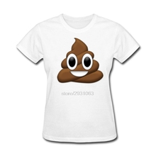 Funny Geek T Shirts Happy Poop-Poop Emoticon Short Sleeve T Shirt Pre-Cotton Lady Offensive T Shirts