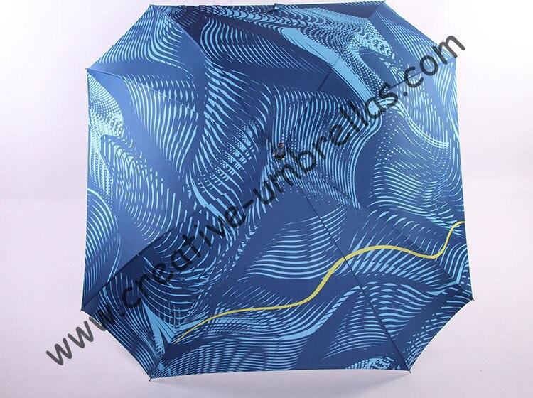 Droite en aluminium carré umbrellas.14mm bleu manche en aluminium et en fiber de verre côtes, ouverture automatique, plein imprimé coupe-vent, en nid d'abeille