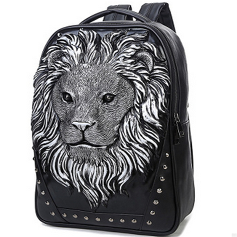 2017 New Arrival Fashion Tide Men Personality Animal Print Backpack Gothic Motorcycle 3D Lion Prints Backpack motorcycle aluminum cooler radiator for yamaha fz6 fz6n fz6 n fz6s 2006 2007 2008 2009 2010