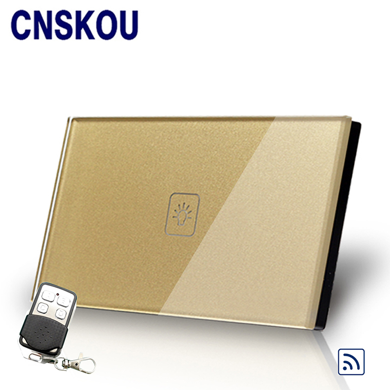 Cnskou US wireless 1gang 250v remote control touch switch for led lamp gold crystal glass touch sensor switch panel smart home smart home us au wall touch switch white crystal glass panel 1 gang 1 way power light wall touch switch used for led waterproof
