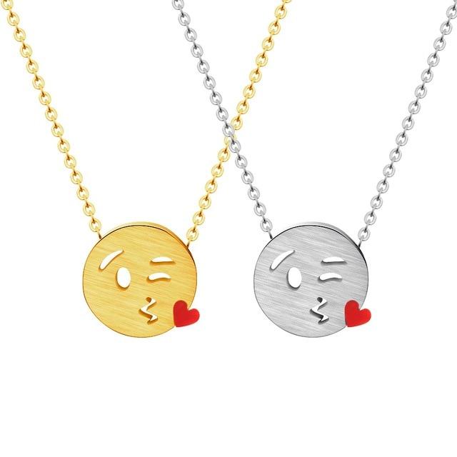 Cute Happy Kiss Me Emoji Pendant Necklace Chain Gold Color Cartoon