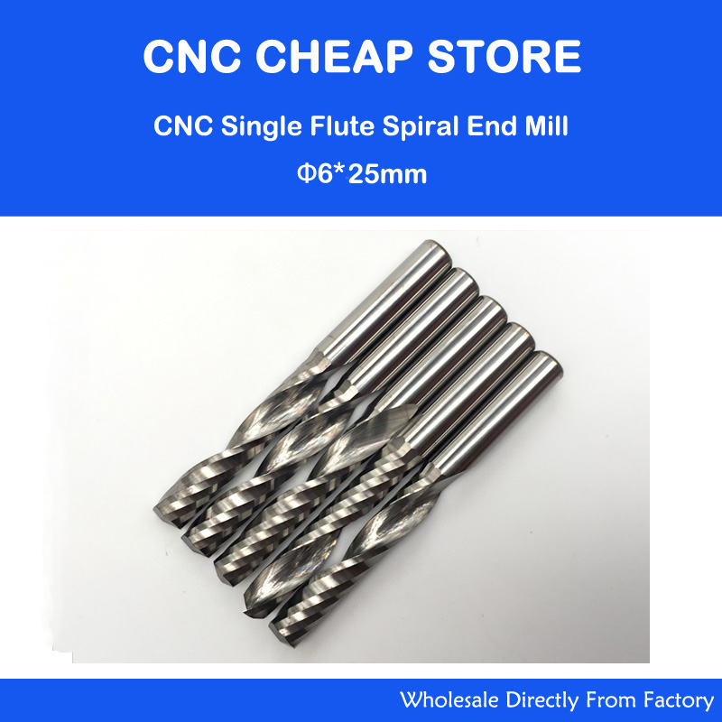 5pcs 6mm 1/4 High Quality Carbide CNC Router Bits One Single Flute End Mill Tools 25mm 5pcs 617 one spiral flute bit cnc router bits 6mm 17mm high quality solid carbide end milling free shipping