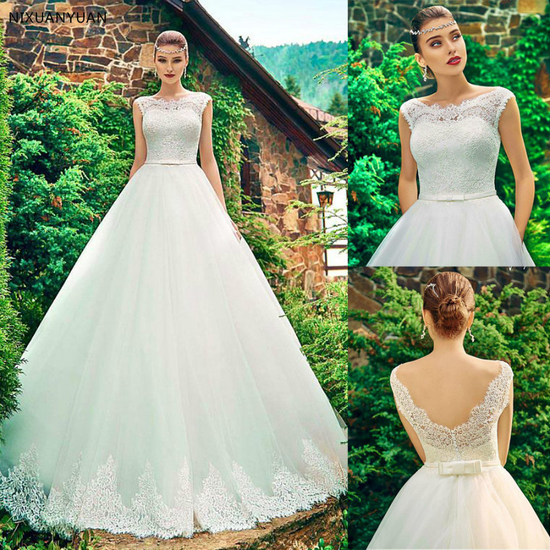 2019 Tulle Bateau Neckline A-line Wedding Dress with Lace Appliques Belt Cheap Bridal Dress Vestido De Casamento