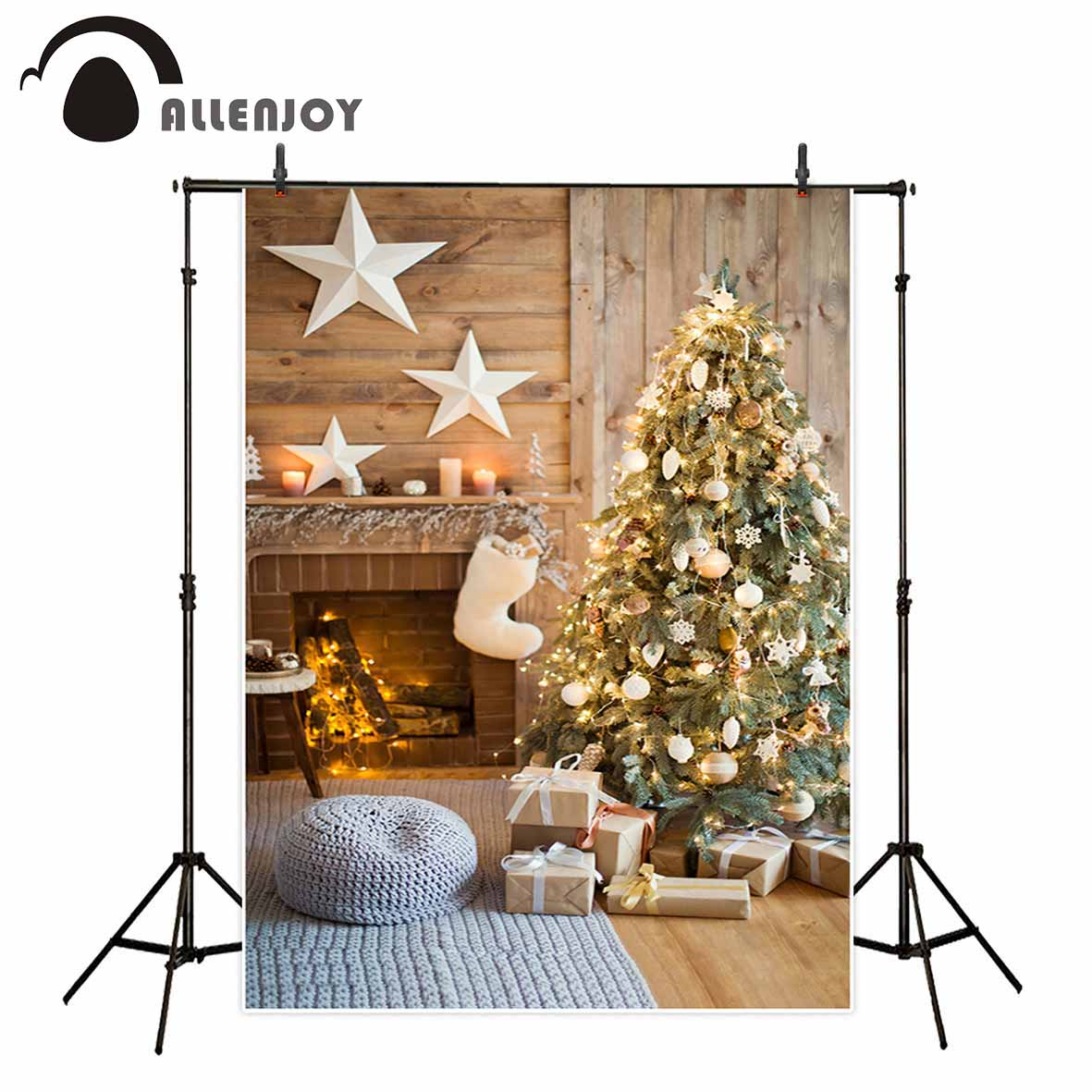 Allenjoy photographic background Closet carpet Christmas tree gift star child new backdrop photocall photo printed customize