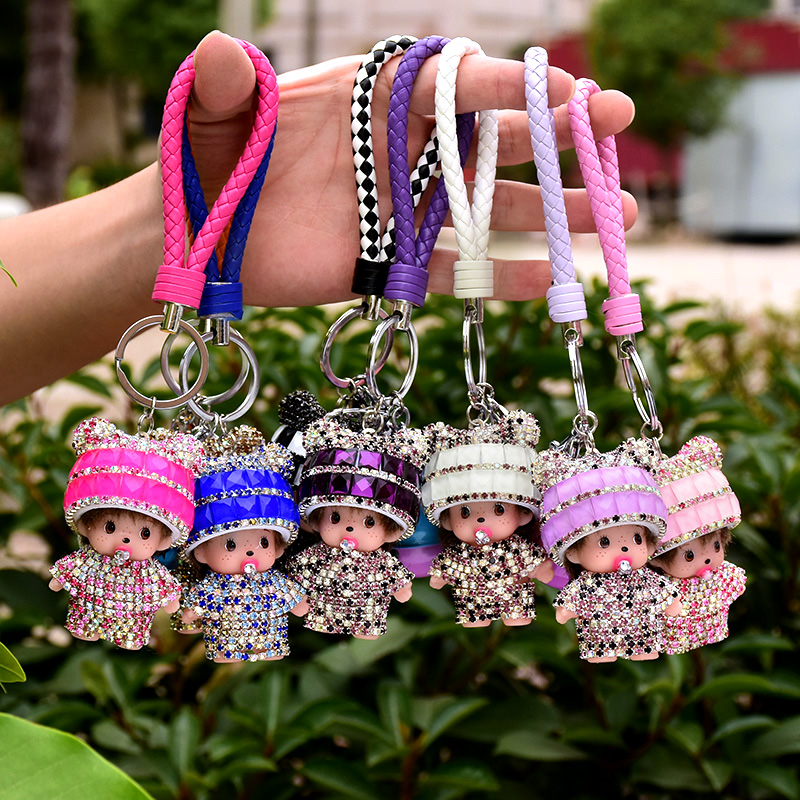 Cute Crystal Rhinestone Keychain Monchhichi Keyring Woman Key Holder Keychain Llavero Chaveiro Bag and Car Pendant Accesory ...