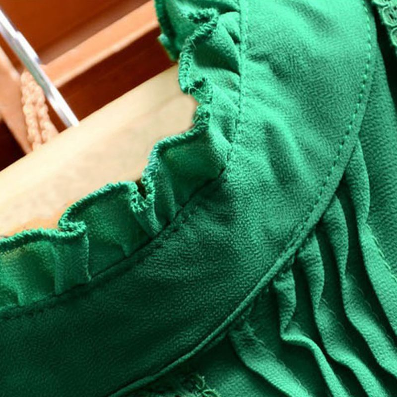 Reffle Estilo Oficina blanco Las Mujeres Retro Verano Blusa Camisa Dama Chiffon Verde De Casual rnqrfOvI