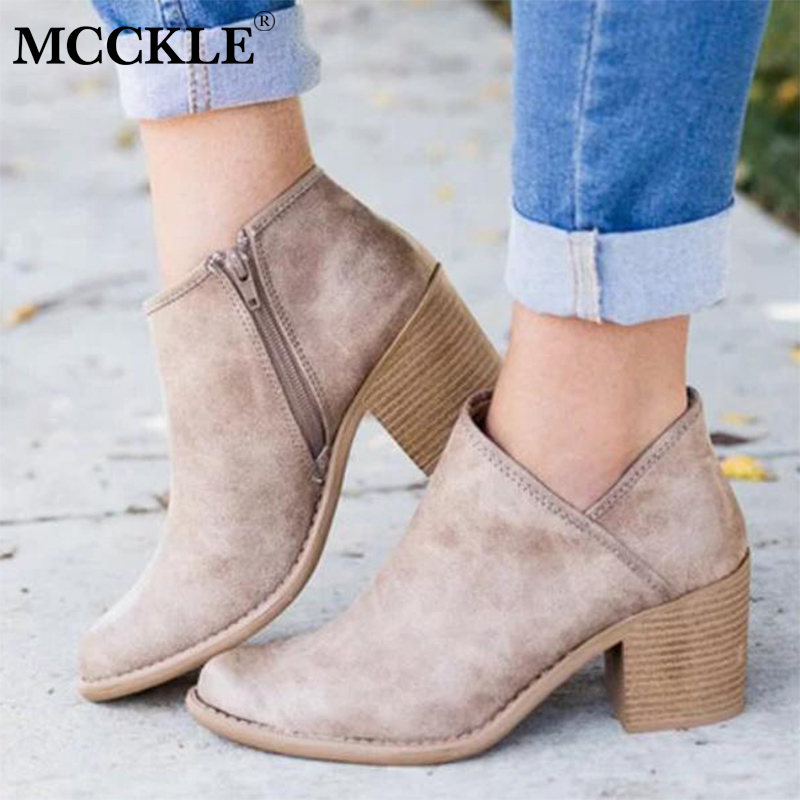 купить MCCKLE Women High Heels Plus Size Concise Thick Block Heel Shoes Woman Ankle boots Female Elegant Casual Footwear Drop Shipping по цене 1132.98 рублей