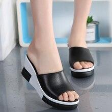 AARDIMI/Летняя женская обувь на платформе из натуральной кожи; женские вьетнамки на танкетке; кожаные шлепанцы без задника; женская обувь на толстой мягкой подошве