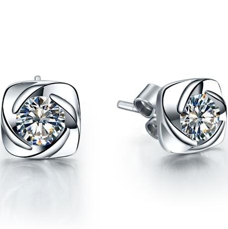 Au750 Stud-Earrings Diamond Gold White Solid-18k Women Simulate Promise Water-Swirl-0.3ct/Piece